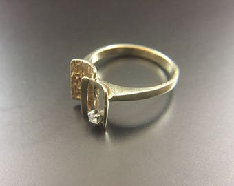 14K yellow gold diamond ring, size 5.5, weight 2.7 grams