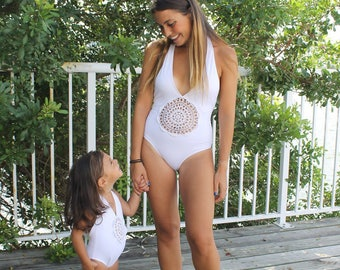 One piece swimsuit // mommy and me swimsuit // mummy and me outfit // bathing suit // swimsuit for girl // swimsuit for baby // white