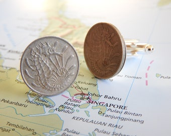 Singapore coin cufflinks - 2 different designs -  made of original coins from Singapore - seahorse - sea