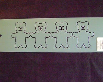 Traditional Quilting Stencil 3 in. by 13 in. Bears in a Row Border Motif/Baby Quilts