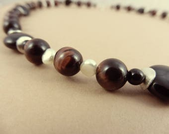 "Silver Necklace with Red Tiger Eye Beads, Freshwater Pearls & Onyx - ""Shaman Relic"""