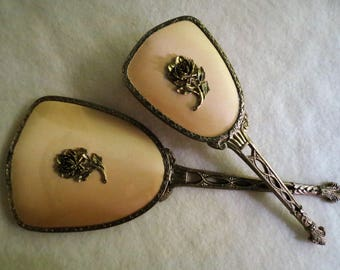 Mirror and Brush Set - 1950's Vanity Set - Antique Dresser Set