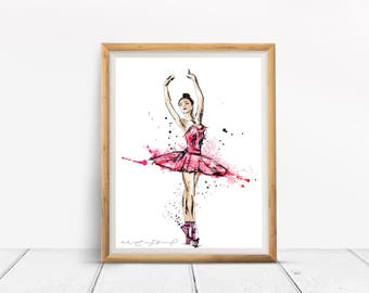 Ballerina illustration / large / Fuchsia / watercolor Style / girl room Decoration / ballet, dance