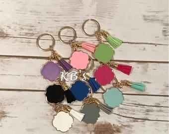 Custom Quatrefoil Enamel Tassel Key Chain - Monogrammed Keychain - Custom Gift - Quatrefoil - Tassel Key chain - Custom Key chain