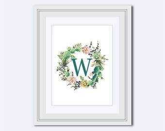 Monogram W - housewarming gift - nursery wall art - cactus wreath - floral monogram - Monogram Wall Art - monogram Home Decor - gift for her