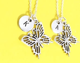 Butterfly Necklace, Silver Best Friends Necklaces - Set of Two Friendship Necklaces,friend Charm Pendant,Bff Charm, Best Friend Jewelry