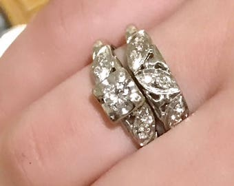 14K white Gold Engagement and Wedding Rings Diamond .43 CTW  Art Deco Vintage Size 7 Estate Sale