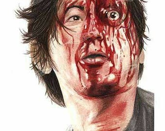 Glenn (Bloody) from The Walking Dead Art Print