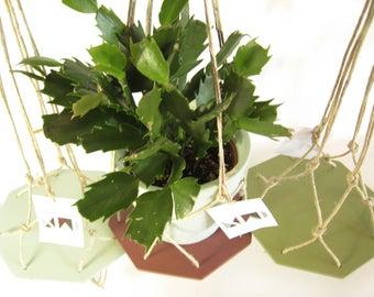 hanging planter / handmade planter / wood and linen / SMALL