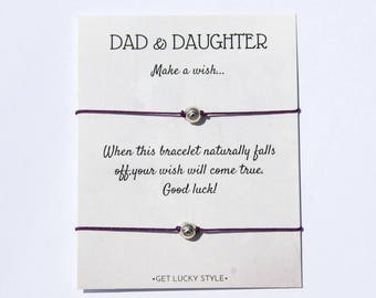 Father Daughter Wish Bracelet Dad and Daughter Father Daughter Gift from Daughter Valentines  Gift for Dad Matching  Bracelet for 2