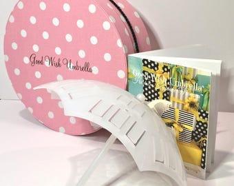 Good Wish Umbrella® Bridal | baby Shower Time-Honored Beribboned Novelty and Generational Memoir Guide-Book Gift Set (Pink-White Poker Dots)