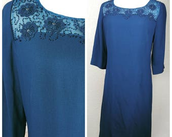 Clearance *** Beautiful Teal Beaded Vintage Dress