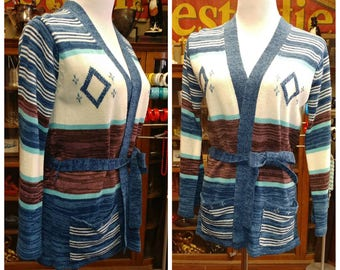 Clearance *** Beautiful Vintage Southwest Inspired Knit Cardigan