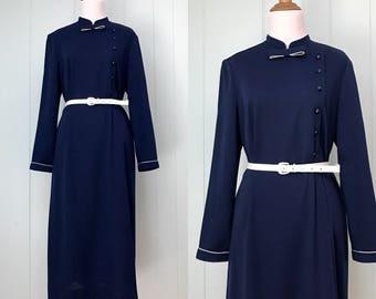1970s Henry Lee Navy Blue Shift Dress   70s Dark Blue Long Sleeve Day Dress   Vintage Retro Mandarin Collar Asymmetrical Button Down Dress