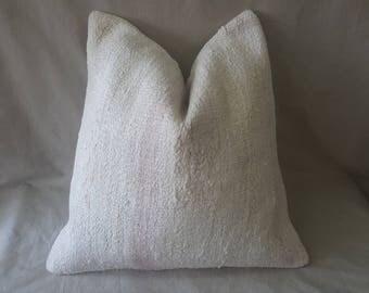 "Kilim Pillow, 24""×24""İnches, Linen Pillow, Cushion Cover, Throw Pillow, Tribal Pillow, Turkish Kilim Pillow, Pillow Cover, Hemp, Linen"