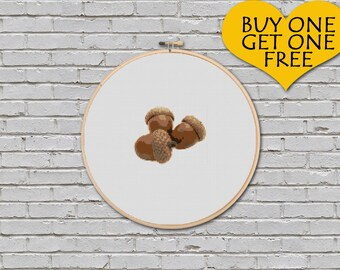Cross Stitch Pattern Acorn Thanksgiving Nature Inspired Fruit Digital PDF Pattern Embroidery Computer Generated Instant Download Files