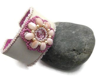 Handmade Crystal, glass and leather weaving embroidered cuff bracelet