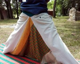 Mixed composition patchwork velvet & wax green harem pants size M Akwaba Creations