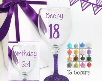 18th girl birthday, personalized 18th birthday gift girl, 18th birthday glass, 18th birthday gift for her, 18th birthday gift for daughter,