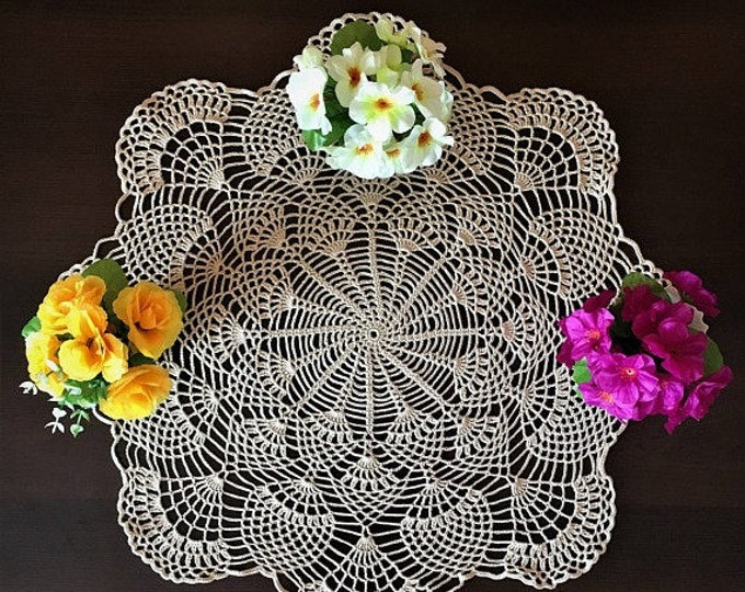 Doily crochet round, diameter 57 cm, doily crochet, openwork doily crochet, home decor, decor vases, interior decor, crochet cream color.