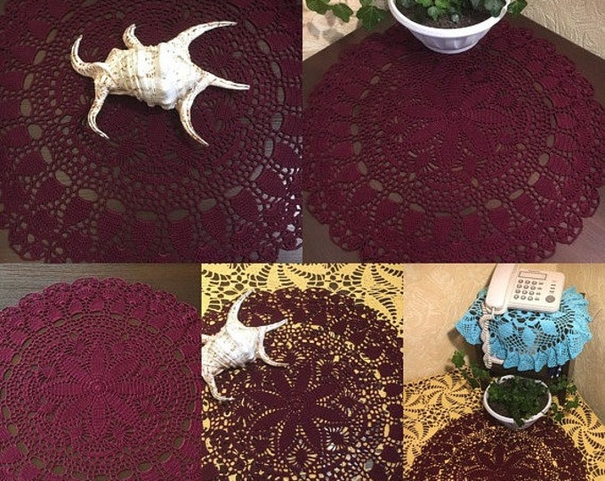 Crocheted doily centerpiece table mat round tablecloth farmhouse decor crochet burgundy lace doily table topper dresser scarf crochet decor.
