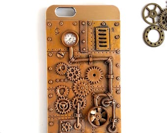 Steampunk iPhone 6 PLUS Case. Bronze iPhone Case. Steampunk Case. Steampunk Accessories. Dieselpunk. Victorian style. Gift for him. Gears