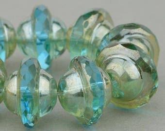 Saturn Beads - Saucer Beads - Czech Glass Beads - Aqua Blue Transparent with White Bronze Beads - 8x10mm Beads - 10 Beads
