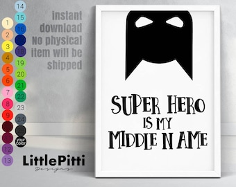 Comic Book wall art, super hero printable, super hero party decorations, baby boy nursery, scandinavian kids room, boy bedroom wall art