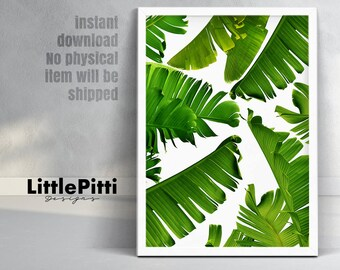 Banana leaf print, tropical leaves, palm digital print, summer party, banana leaves, green leaves, greenery print, large wall art