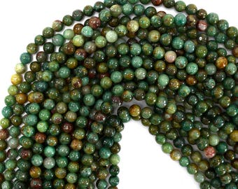 "6mm green dragon blood jasper round beads 16"" strand 38142"