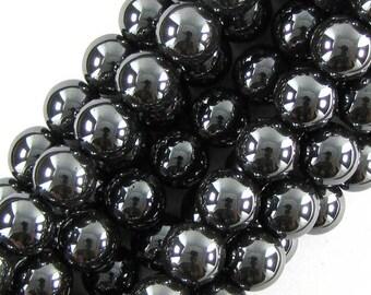 """14mm hematite round beads 16"""" strand 19645"""