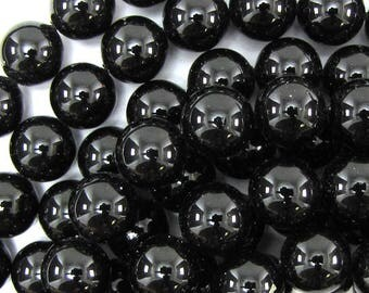 "12mm black shell pearl round beads 16"" strand 13961"