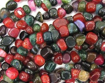 "8-10mm watermelon tourmaline agate nugget beads 15.5"" strand 32264"