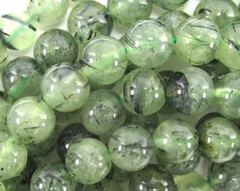 "10mm green prehnite round beads 15.5"" strand 34641"