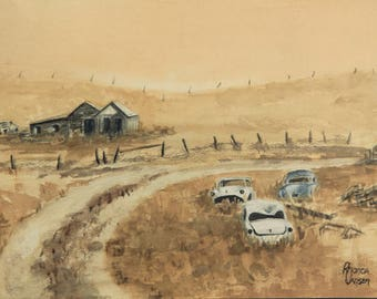 Dusty Road, farm house paintings, ranch land  paintings, old homesteads, old farm houses, yellow ochre paintings, vintage cars, prairie art