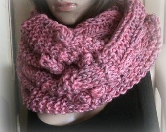 Pink Aran chunky Knitted Scarf