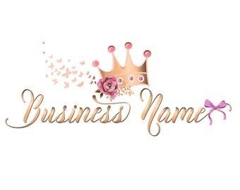Custom Logo Design - Pink gold Logo - Premade Logo Design - crown princess girly Logo - Princess Logo - girls Business Logo, crown logo