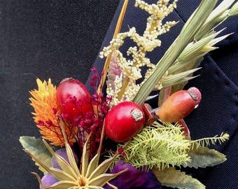 Buttonhole - man's buttonhole, wedding buttonhole, mans corsage, mens wedding flowers