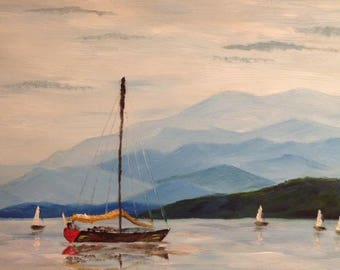Sailing - original oil painting of five sailing boats on a calm lake with a backdrop of calm blue hills. A quintessentially English picture!
