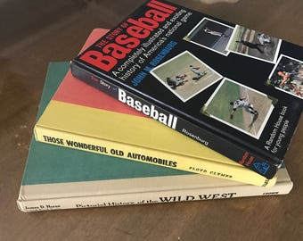 Decorative Vintage Books, Coffee Table Books, Vintage Book Stack, Larger Books, Bright Colored Books, Baseball, Wild West, Old Automobiles