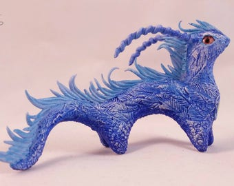 Blue dragon handmade fantasy sculpture totem