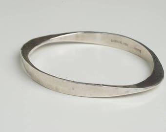 Karl Jorgen Otteren Vintage Norwegian Handmade Hand Hammered Sterling Silver Modernist Bracelet