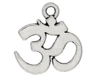 1 silver ohm written antique zinc alloy