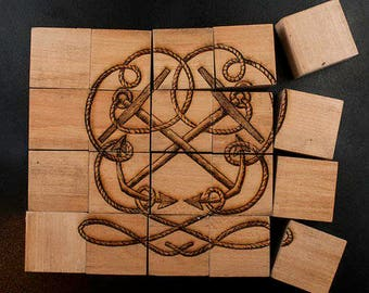 Wooden Puzzle Box, Octopus & Anchor