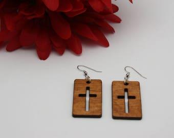 Wooden cross cutout earrings, Wood earrings, Cross earrings