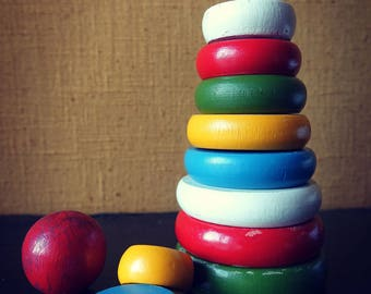 Wood - painted wood - set stacking rings toy child's.