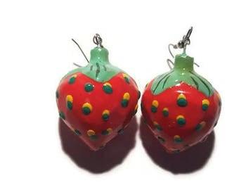 Strawberry wood earrings Strawberry earrings Fruit earrings