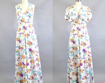 Vintage 1970s White Floral Halter Dress Maxi Bolero Shrug Size M. 1970s Halter Top Floral Maxi Dress.