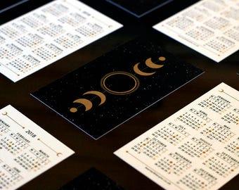 2018 Moon Lunar Calendar // Moon Phases // Mini Calendar // Pocket Calendar // Wallet Insert Calendar