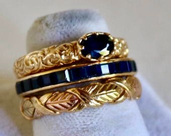 2 14k and 1 10k gold sapphire stacking rings. 14k channel set sapphire and 14k oval sapphire ring. Sz 7.5